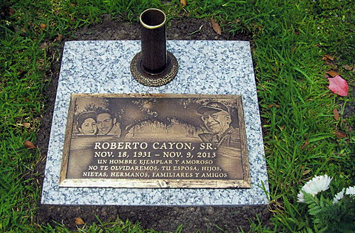 Purchase a Bronze Grave Marker with Photo Collage Design