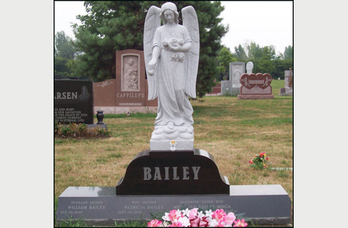 Picture Of A Design Of A Winged Angel Cemetery Monument